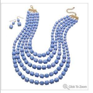 Multi strand Cornflower Blue Statement Necklace
